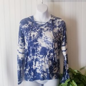 Women's Size XS Blue and White Tie dyed hoodie